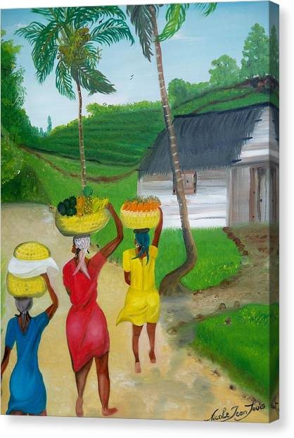Three Ladies Going To The Marketplace Canvas Print