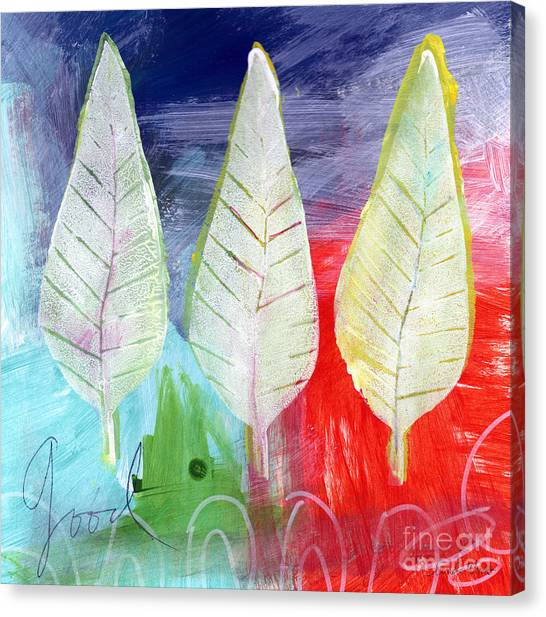 Orange Tree Canvas Print - Three Leaves Of Good by Linda Woods