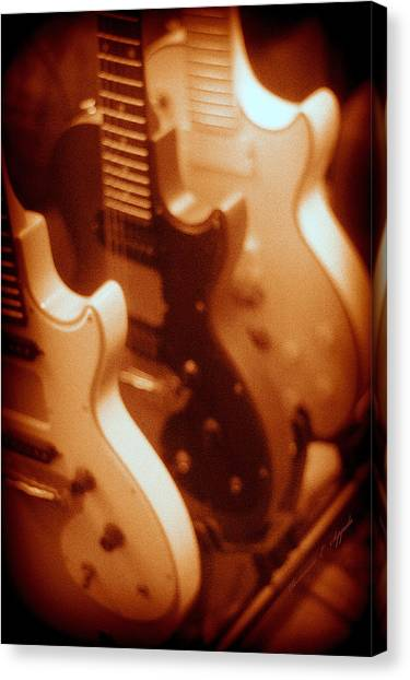 Guitar Picks Canvas Print - Three Of A Kind By Epiphone by Rosemarie E Seppala
