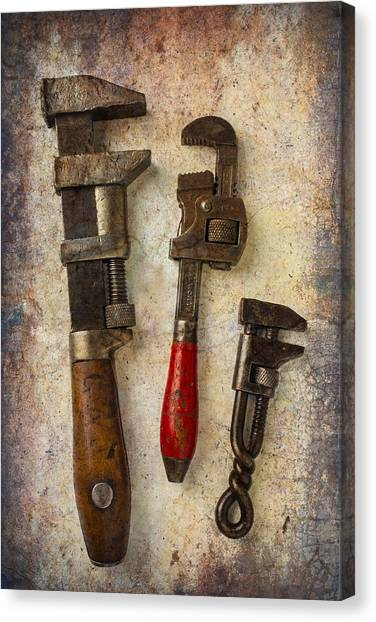 Wrenches Canvas Print - Three Old Worn Wrenches by Garry Gay