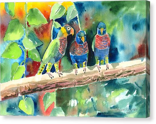Three On A Branch Canvas Print