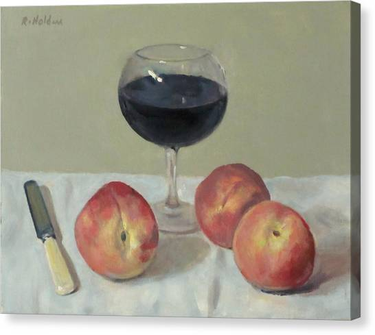 Three Peaches, Wine And Knife Canvas Print