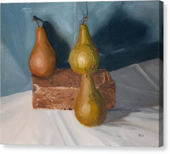 Canvas Print featuring the painting Three Pears by Break The Silhouette