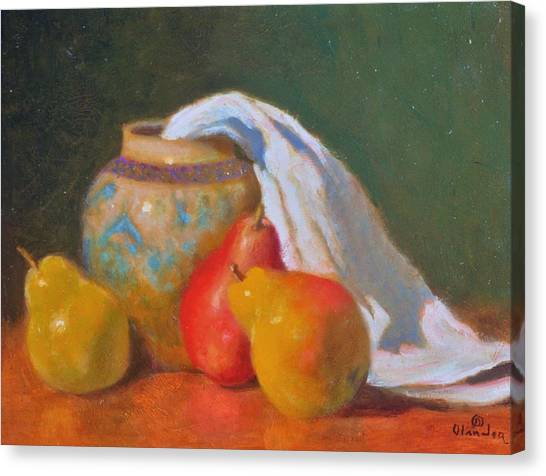 Three Pears With Persian Vase Canvas Print by David Olander