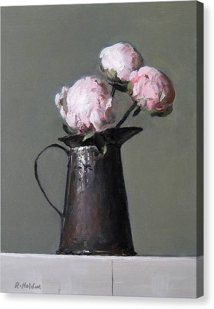 Three Peony Buds In Old Tin Can Canvas Print