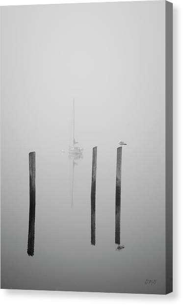 Three Pilings And Sailboat Canvas Print