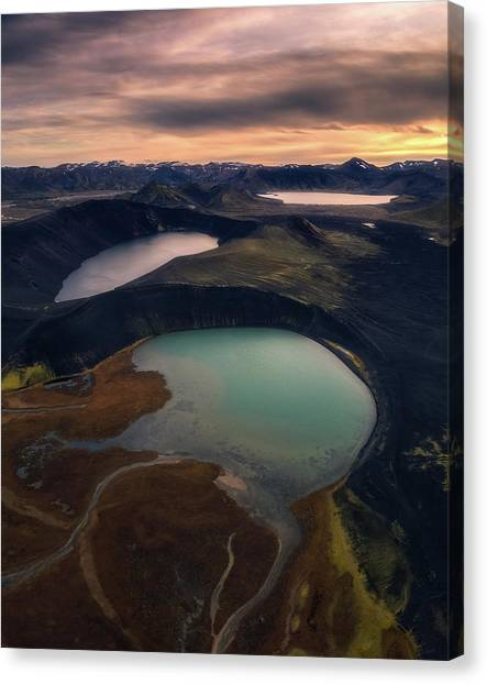 Lake Sunsets Canvas Print - Three Ponds In A Row by Tor-Ivar Naess