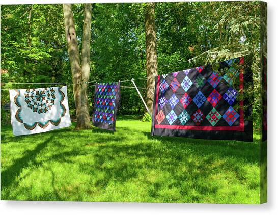 Three Quilts In The Breeze Canvas Print
