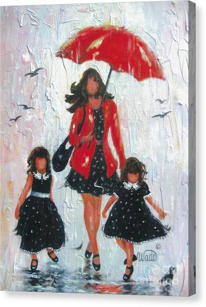 Big Sister Canvas Print - Three Rain Girls Red And Black by Vickie Wade