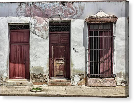 Three Red Doorways Canvas Print
