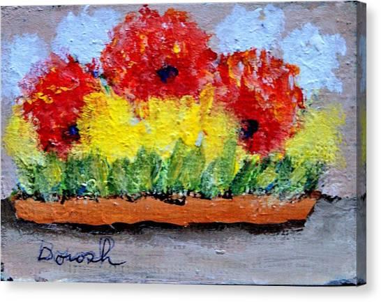 Three Red Flowers Canvas Print