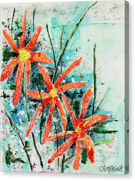 Canvas Print featuring the painting Three Red Flowers by Teddy Campagna