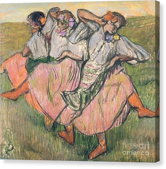 Girl In Landscape Canvas Print - Three Russian Dancers by Edgar Degas
