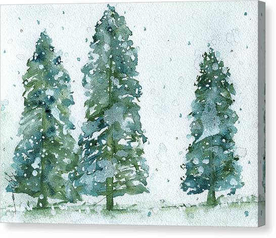 Three Snowy Spruce Trees Canvas Print