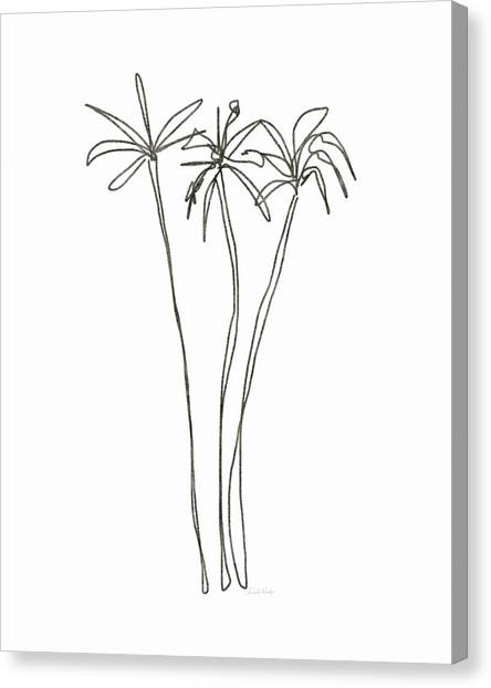 Palm Trees Canvas Print - Three Tall Palm Trees- Art By Linda Woods by Linda Woods