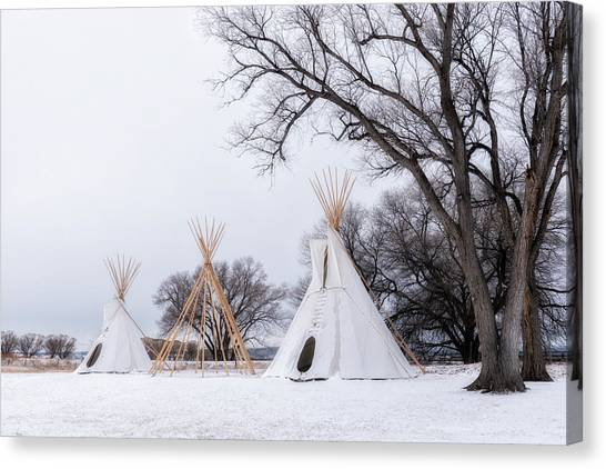 Three Tipis Canvas Print