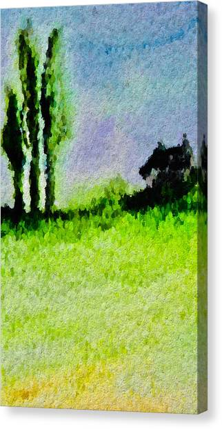Canvas Print - Three Trees And A House by Modern Art