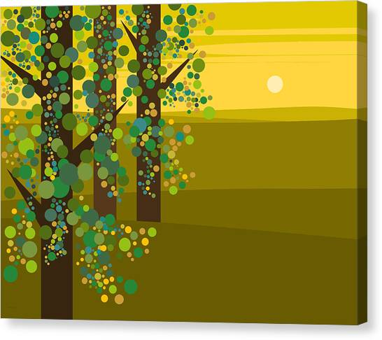 Three Trees In The Spring Canvas Print