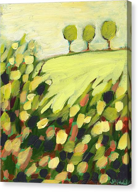 Abstract Art Canvas Print - Three Trees On A Hill by Jennifer Lommers
