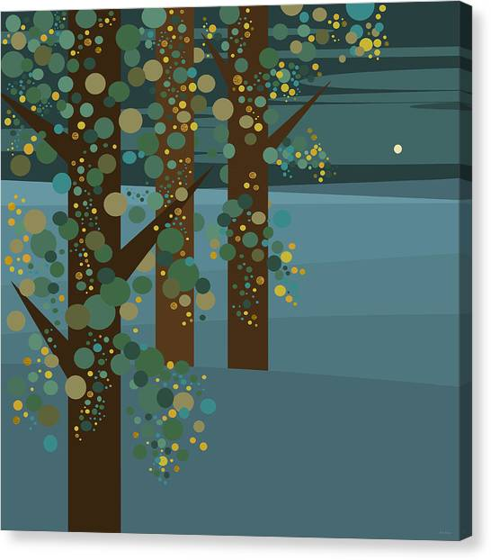 Three Trees With Gold Canvas Print