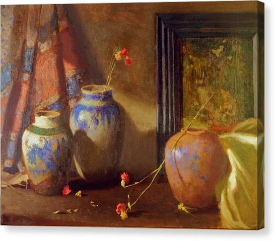 Three Vases With Impressionist Painting In Background Canvas Print by David Olander