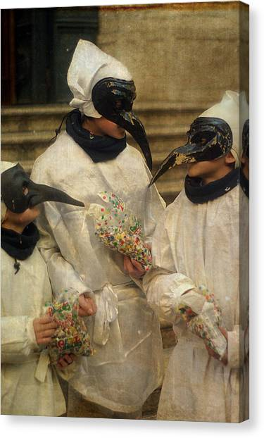 Three Venice Boys Celebrating At Carnival Canvas Print