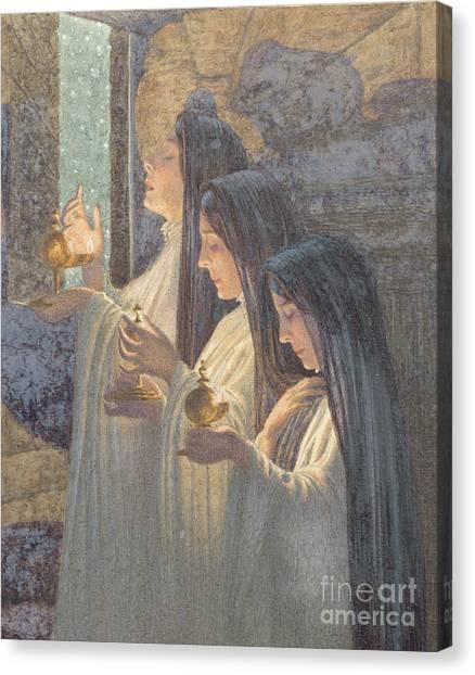 Ascension Canvas Print - Three Wise Virgins by Carlos Schwabe
