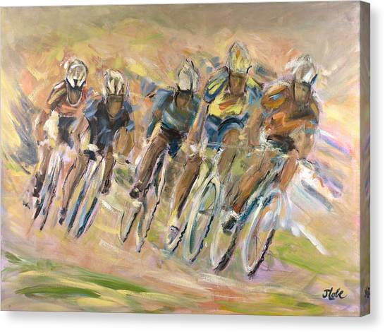 Cyclist Canvas Print - Thrill Of The Chase by Jude Lobe