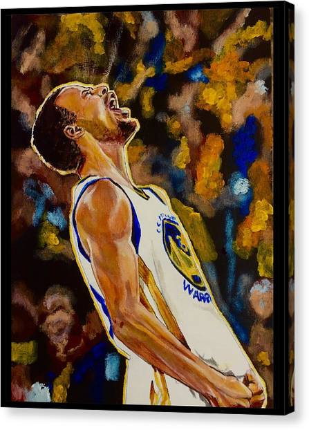 Stephen Curry Canvas Print - Thrill Of Victory by Joel Tesch