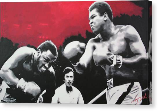 Joe Frazier Canvas Print - Thrilla In Manila by Hood alias Ludzska
