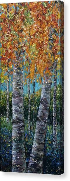 Through The Aspen Trees Diptych 1 Canvas Print