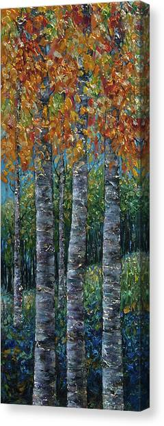 Through The Aspen Trees Diptych 2 Canvas Print