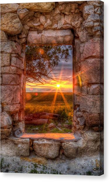 Prairie Sunrises Canvas Print - Through The Bedroom Window by Thomas Zimmerman