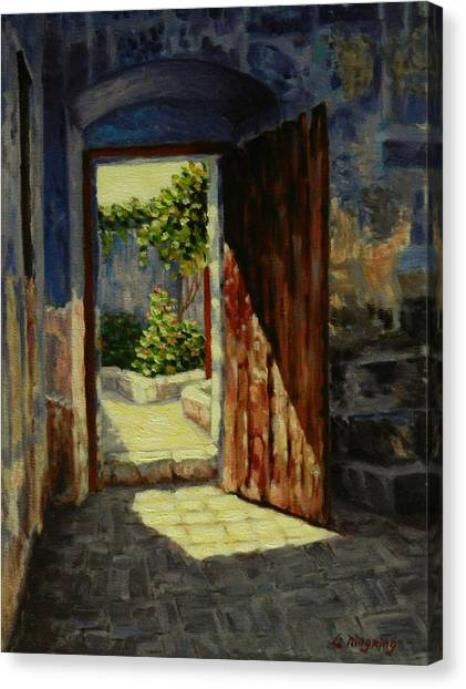 Through The Door, Peru Impression Canvas Print