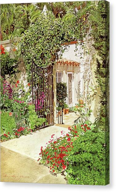 Beverly Hills Canvas Print - Through The Garden Gate by David Lloyd Glover