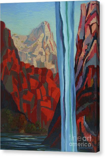 Canvas Print featuring the painting Through The Narrows, Zion by Erin Fickert-Rowland