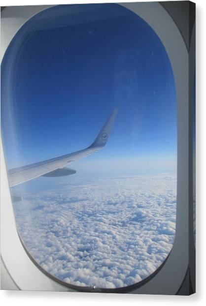 Flying Canvas Print - Through The Window Of An Airplane by Anamarija Marinovic