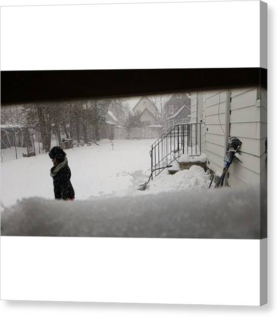 Snowball Canvas Print - Throw Snowball At Noone Then Walk Off by Crook Bladez