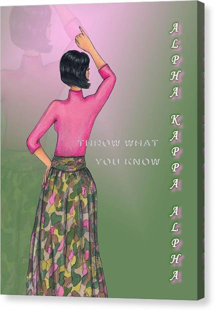 Alpha Kappa Alpha Canvas Print - Throw What You Know Series - A K A by BFly Designs