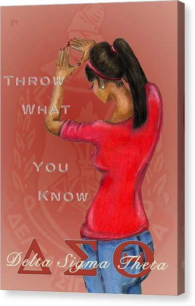 Delta Sigma Theta Canvas Print - Throw What You Know Series - Delta Sigma Theta 2 by BFly Designs