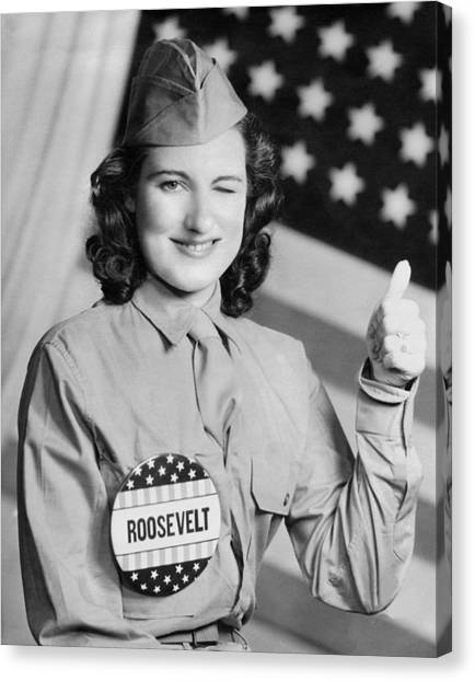 Franklin D. Roosevelt Canvas Print - Thumbs Up For Roosevelt by Underwood Archives