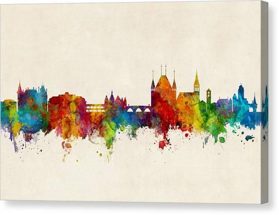Switzerland Canvas Print - Thun Switzerland Skyline by Michael Tompsett