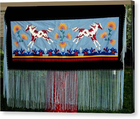 Canvas Print featuring the tapestry - textile Thunder Pony by Chholing Taha