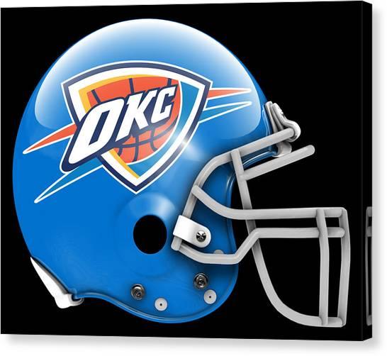 Oklahoma City Thunder Canvas Print - Thunder What If Its Football by Joe Hamilton