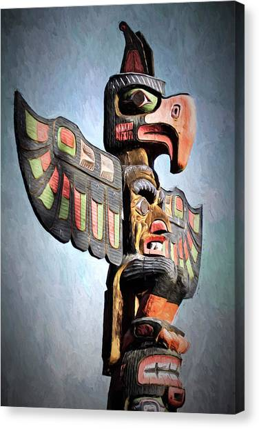 Thunderbird Totem Pole - Thunderbird Park, Victoria, British Columbia Canvas Print