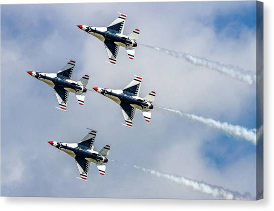 F16 Canvas Print - Thunderbirds In Formation by Bill Gallagher