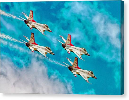 F16 Canvas Print - Thunderbirds In Formation II by Bill Gallagher