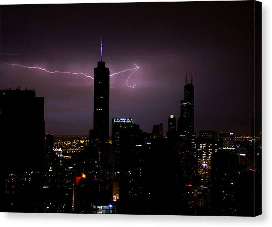 Thunderbolts Across The Sky Canvas Print
