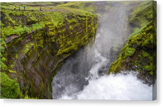 Thundering Icelandic Chasm On The Fimmvorduhals Trail Canvas Print