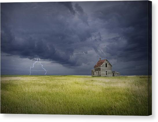 Abandoned House Canvas Print - Thunderstorm On The Prairie by Randall Nyhof